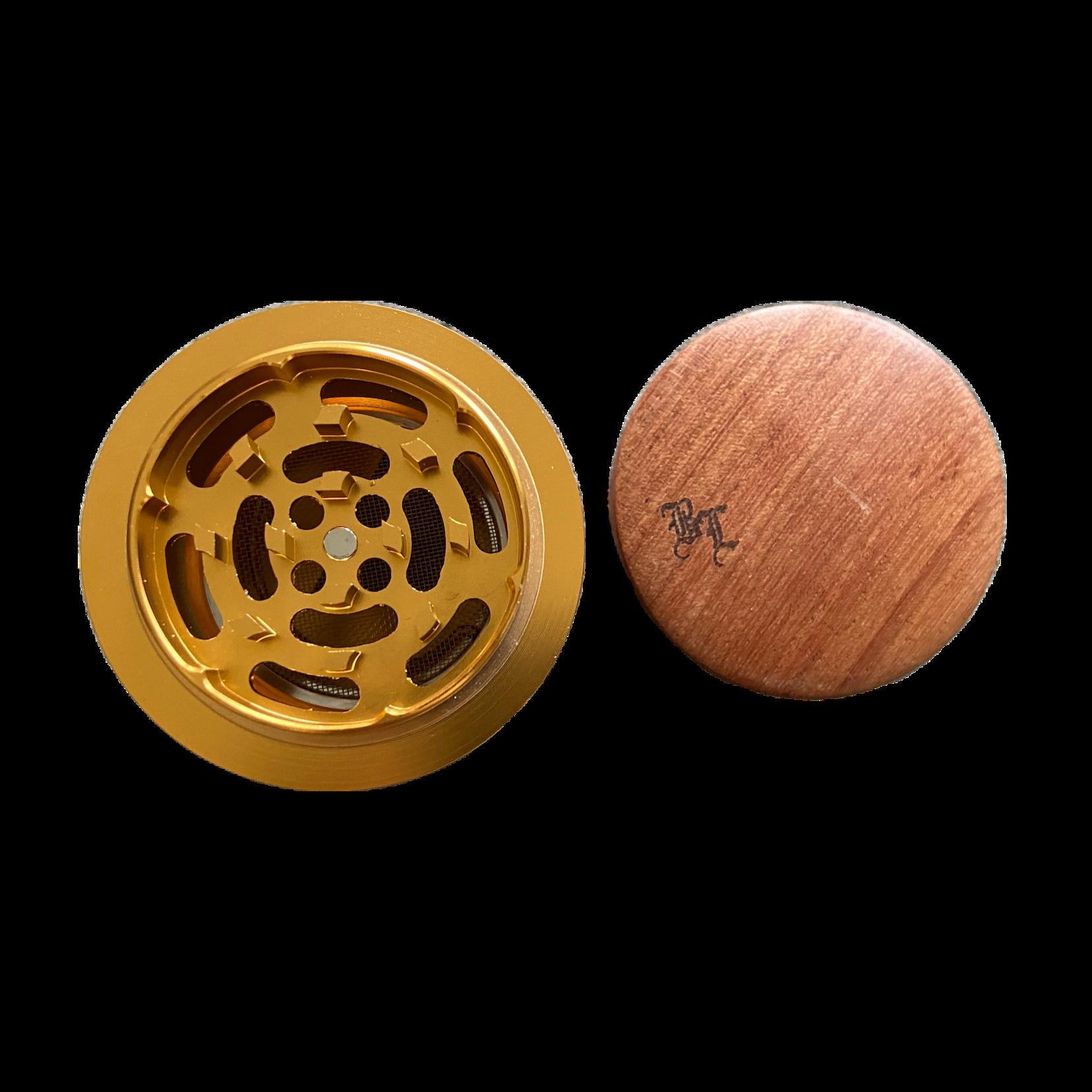 Alu//Holz Grinder in Geschenkbox - Ø 60mm 4-tlg 6 Muster Black Leaf