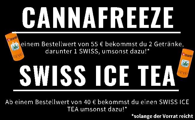Angebot: ab 55 € 2 Getränke, darunter 1 SWISS Eistee, umsonst zu deiner Bestellung und ab 40 € 1 SWISS Eistee umsonst.